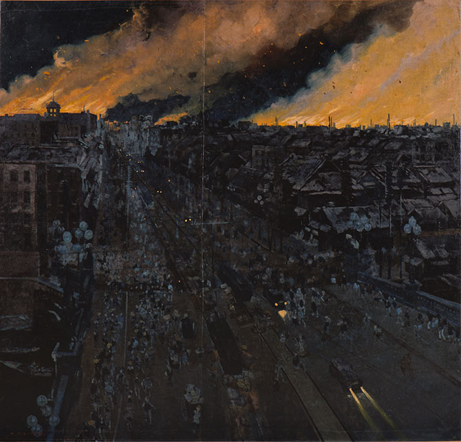 日本橋附近災害の夜景